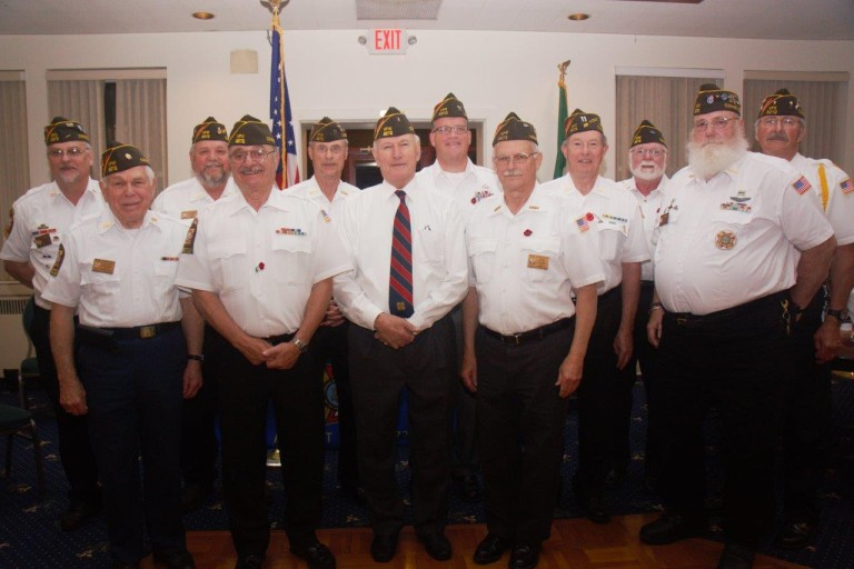 Whitney Center resident Jim Hutton stands with members of the Gildo T. Consolini VFW Post 3272, Avon, Connecticut after they elected him the next Commander of the post